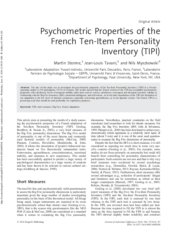 PDF) Psychometric Properties of the French Ten-Item Personality