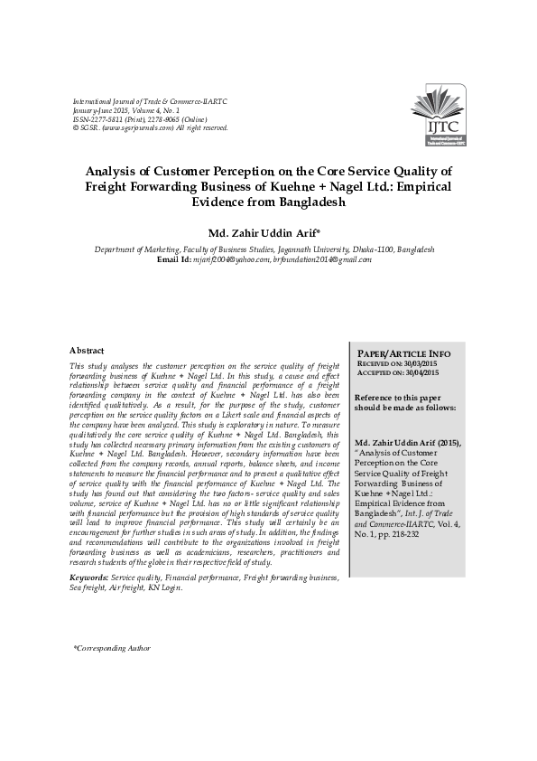 PDF) Analysis of Customer Perception on the Core Service Quality of