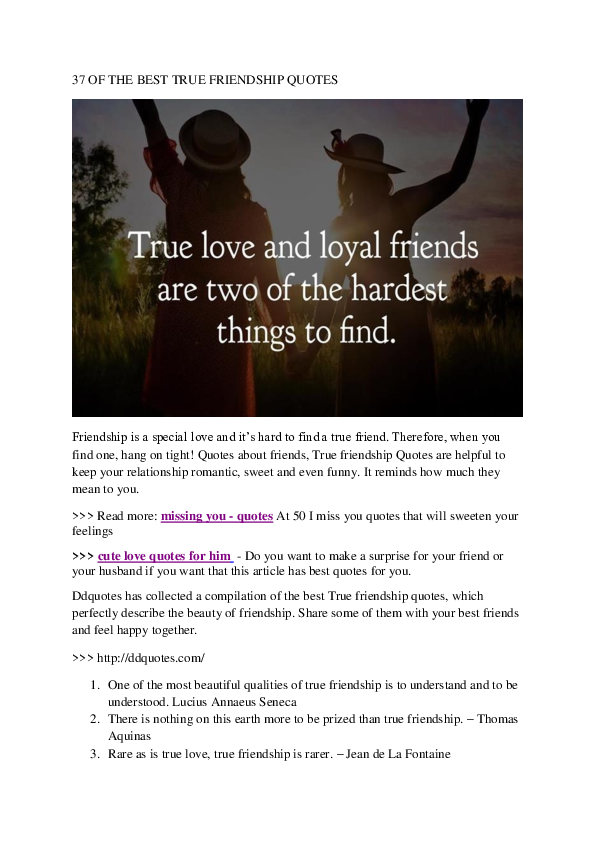 Pdf 15 Of The True Friendship Quotes Lyndsie Beresford Academiaedu