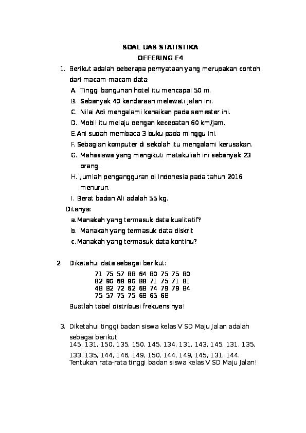 Doc Soal Uas Statistika Perguruan Tinggi Imroatusani N K