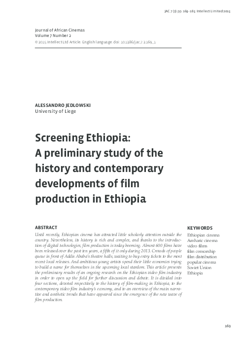 PDF) Screening Ethiopia: A preliminary study of the history
