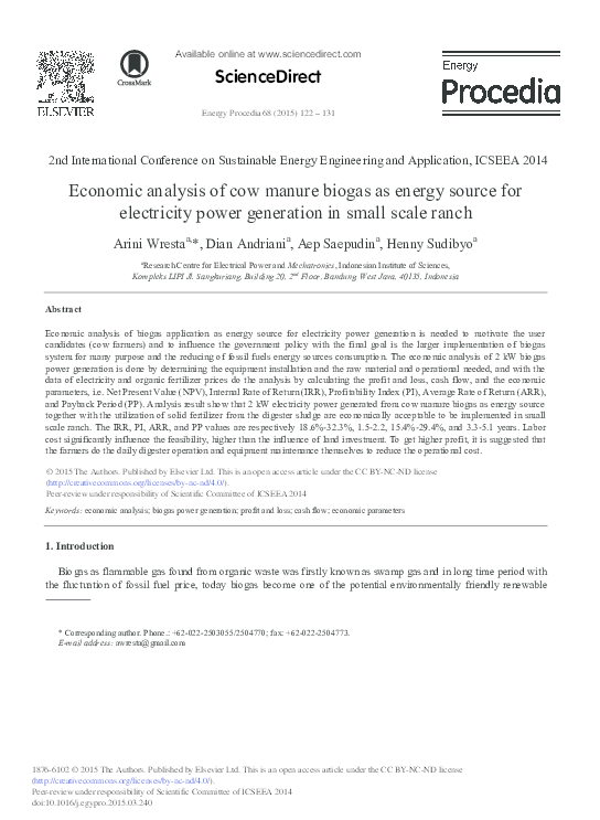 PDF) Economic analysis of cow manure biogas as energy source