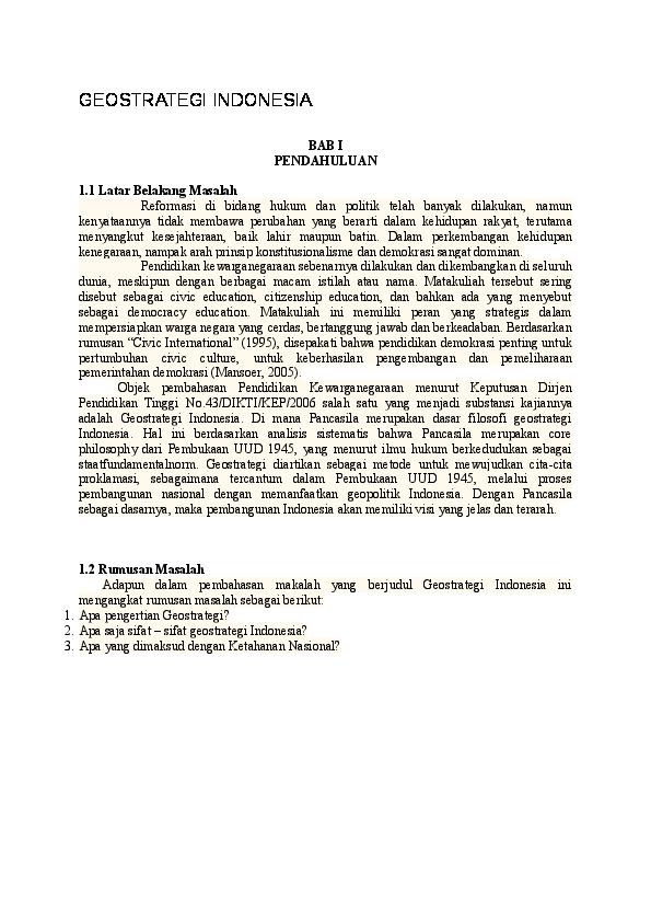 Doc Geostrategi Indonesia Ade Asmirati Academia Edu