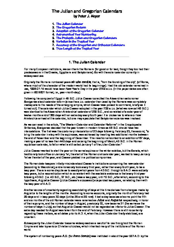 The Julian And Gregorian Calendars Peter J Meyer Academia Edu