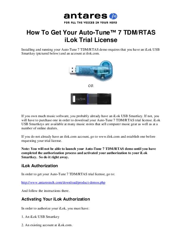 PDF) How To Get Your Auto-Tune™ 7 TDM/RTAS iLok Trial License | Jhen