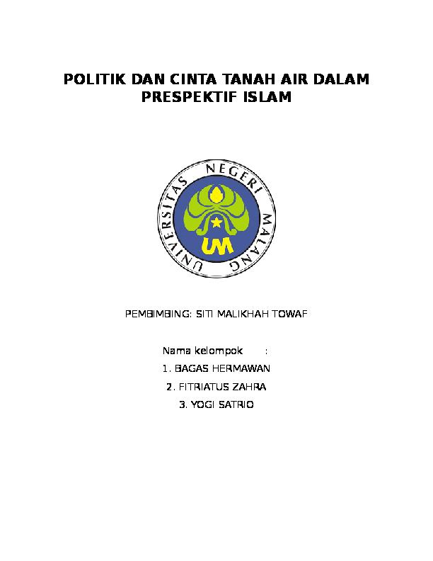 Doc Politik Dan Cinta Tanah Air Dalam Prespektif Islam Politik Dan Cinta Tanah Air Dalam Prespektif Islam Yogie Nugroho Academia Edu