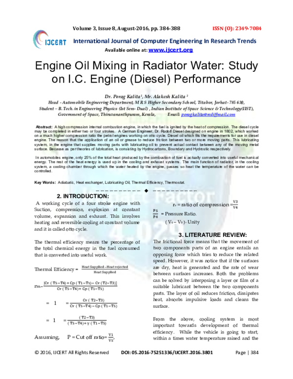 PDF) Engine Oil Mixing in Radiator Water: Study on I C  Engine