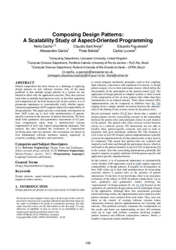 Pdf Composing Design Patterns A Scalability Study Of Aop Thais Batista Academia Edu