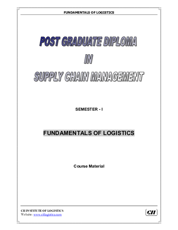 PDF) FUNDAMENTALS OF LOGISTICS FUNDAMENTALS OF LOGISTICS