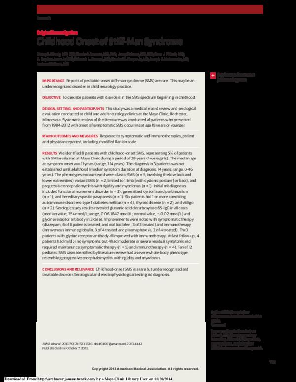 PDF) Childhood Onset of Stiff-Man Syndrome | Josep Dalmau and Stacey
