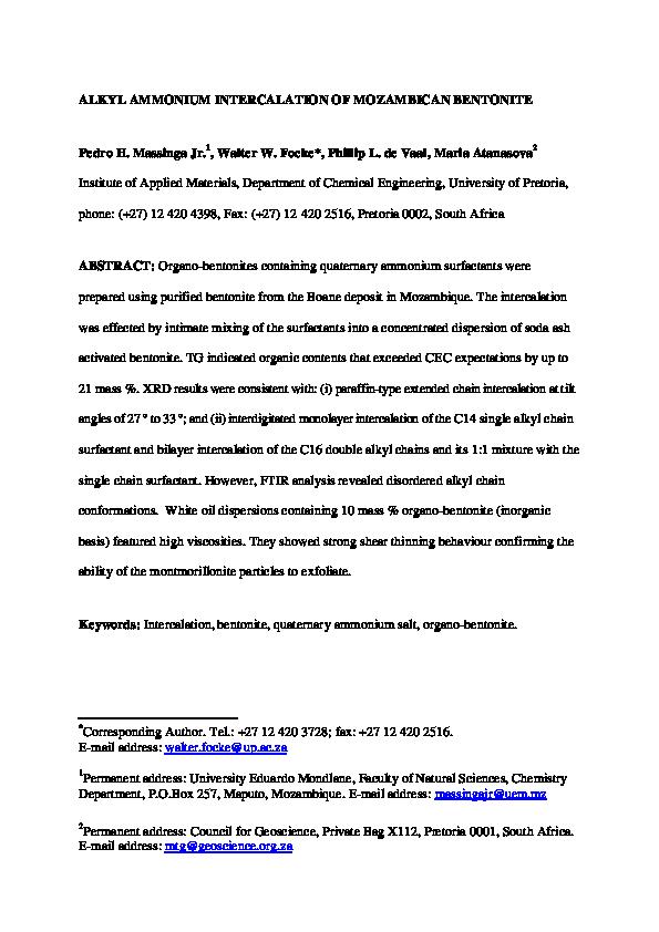 PDF) Alkyl ammonium intercalation of Mozambican bentonite   Maria