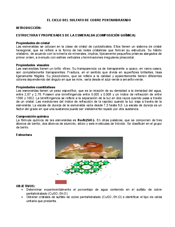 Doc El Ciclo Del Sulfato De Cobre Pentahidratado