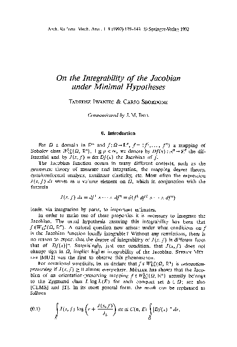 PDF) On the integrability of the Jacobian under minimal