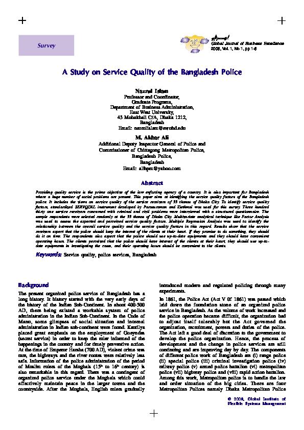 PDF) A Study on Service Quality of the Bangladesh Police