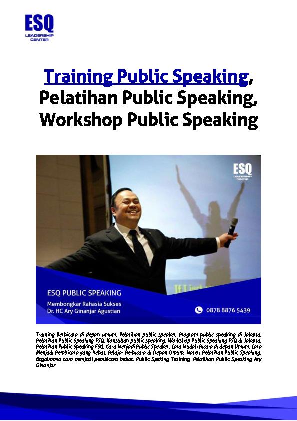 Pdf Training Public Speaking Pelatihan Public Speaking Workshop Public Speaking Aditya Nur Baskoro Academia Edu