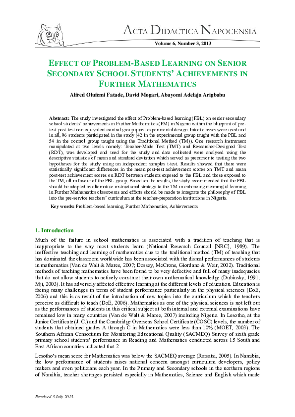 PDF) EFFECT OF PROBLEM-BASED LEARNING ON SENIOR SECONDARY