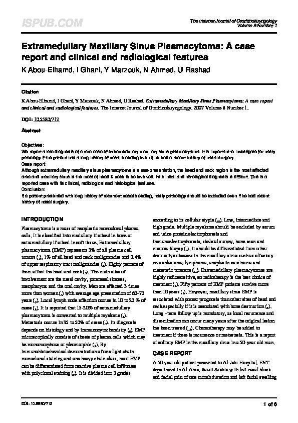 PDF) Extramedullary Maxillary Sinus Plasmacytoma: A case report and
