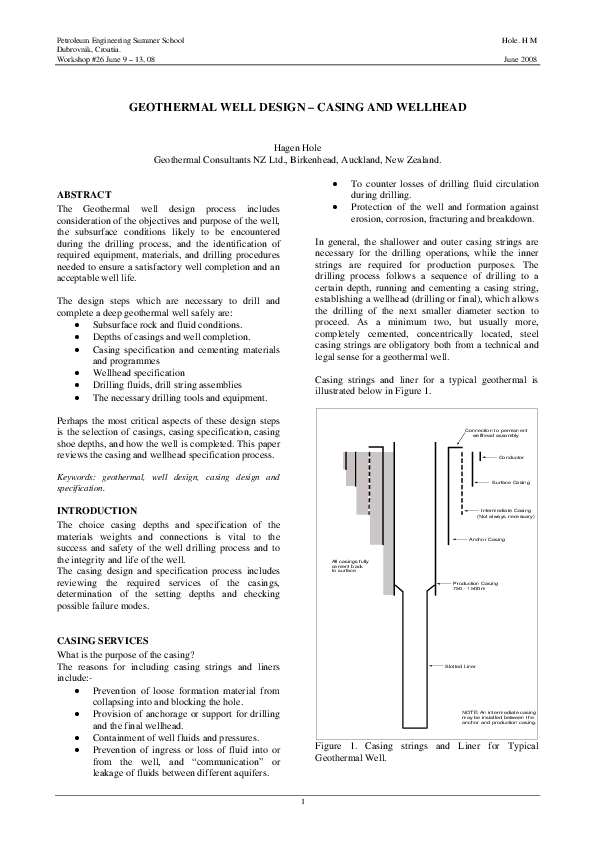 PDF) GEOTHERMAL WELL DESIGN – CASING AND WELLHEAD | Björn