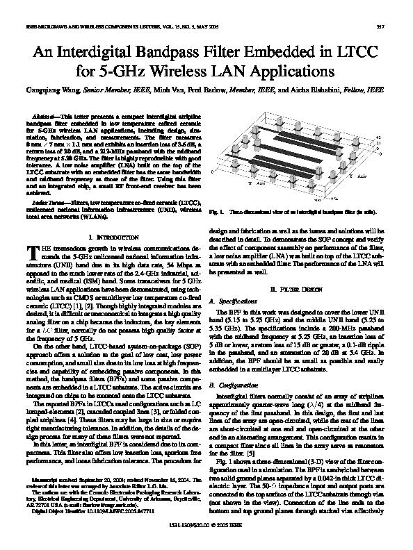 PDF) An interdigital bandpass filter embedded in LTCC for 5GHz