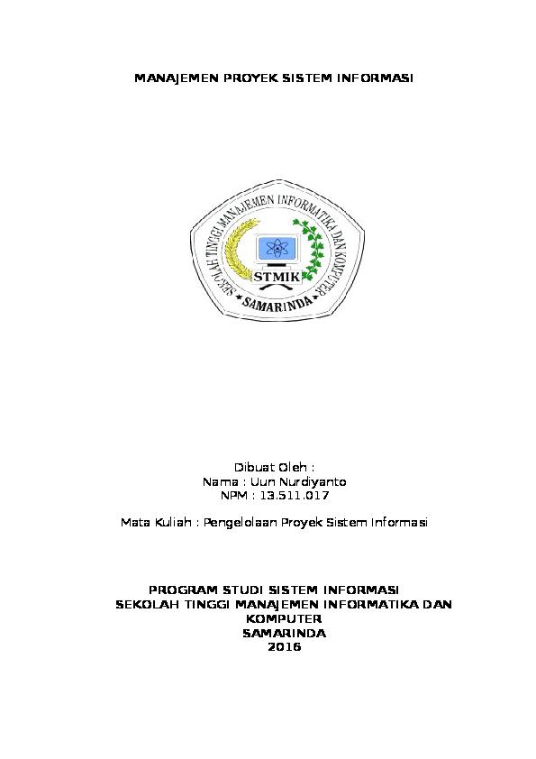 Doc Manajemen Proyek Sistem Informasi Uun Nurdiyanto Academia Edu