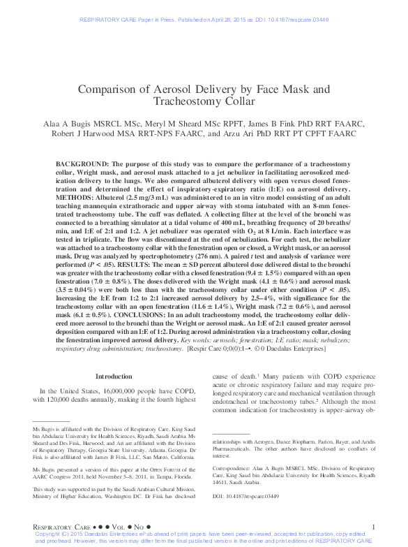 PDF) Comparison of Aerosol Delivery by Face Mask and Tracheostomy