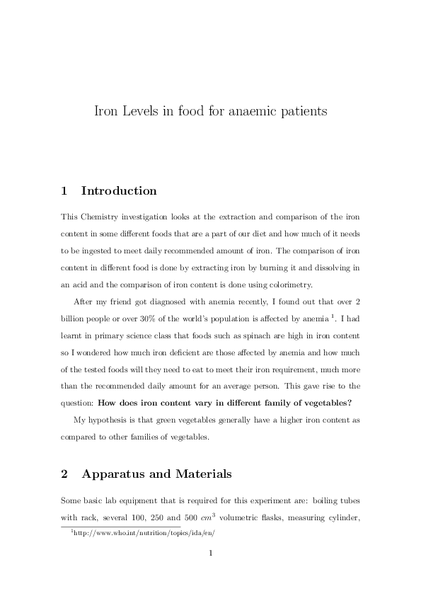 PDF) Determining Iron Levels in Food | Sharav Sadhu