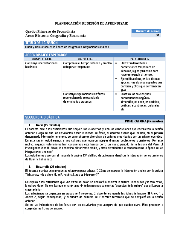 PDF) PLANIFICACIÓN DE SESIÓN DE APRENDIZAJE Grado: Primero