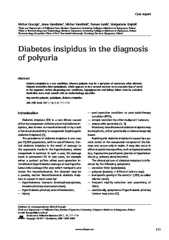 Pdf Diabetes Insipidus In The Diagnosis Of Polyuria Michał