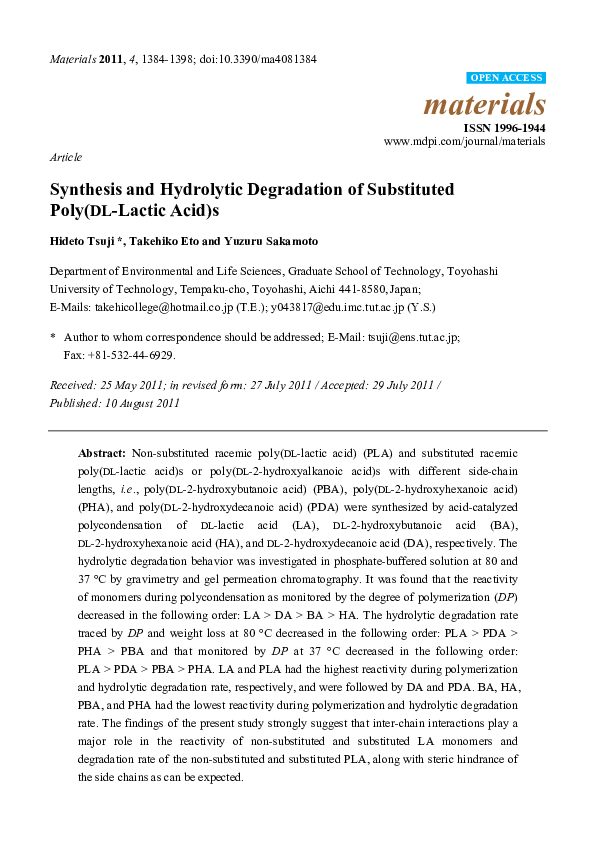 PDF) Synthesis and Hydrolytic Degradation of Substituted Poly(DL