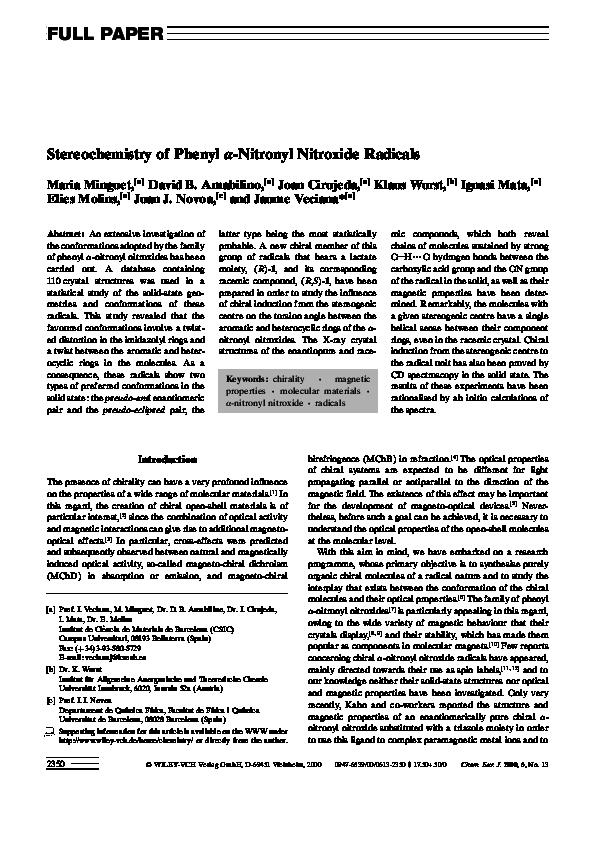 PDF) Stereochemistry of Phenylα-Nitronyl Nitroxide Radicals