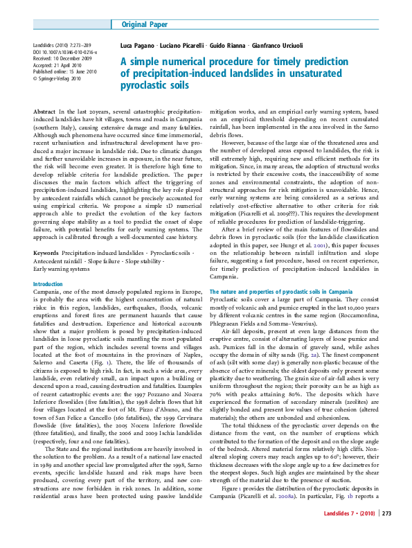Pdf A Simple Numerical Procedure For Timely Prediction Of Precipitation Induced Landslides In Unsaturated Pyroclastic Soils Guido Rianna Academia Edu