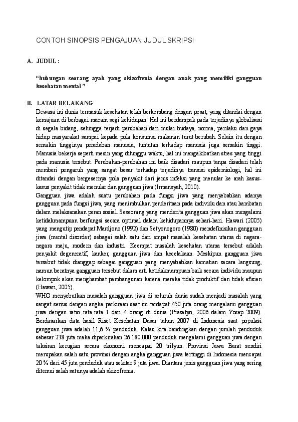 Doc Contoh Sinopsis Pengajuan Judul Skripsi Skizofrenia Erick Reynaldo Academia Edu