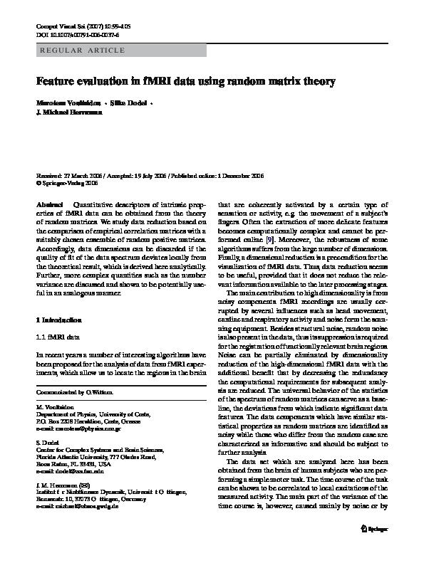 PDF) Feature evaluation in fMRI data using random matrix theory