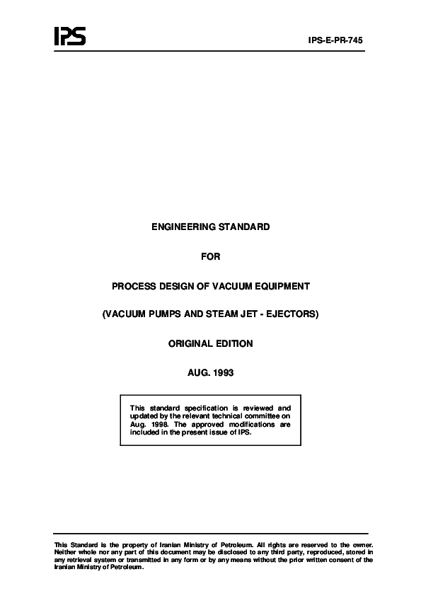 ips e pr 745 engineering standard for process design of vacuum3 Stages Ejector Vacuum System Process Flow Diagram #13