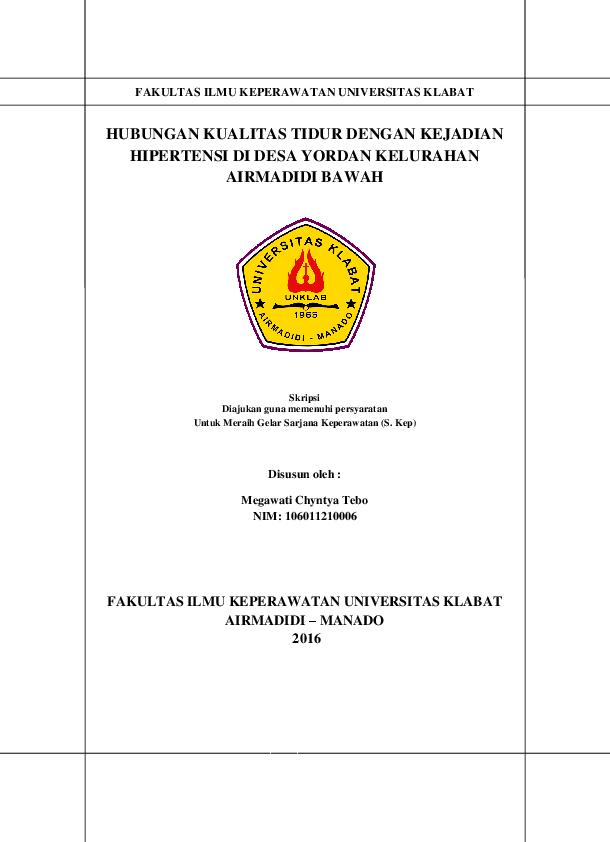 Pdf Hubungan Kualitas Tidur Dengan Kejadian Hipertensi Fakultas Ilmu Keperawatan Universitas Klabat Tebo Megawati Academia Edu