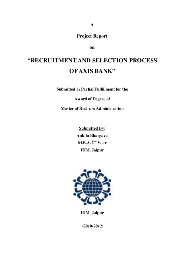 Recruitment And Selection Project Report Pdf