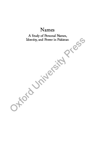 PDF) Names and Identity in Pakistan | Tariq Rahman - Academia edu