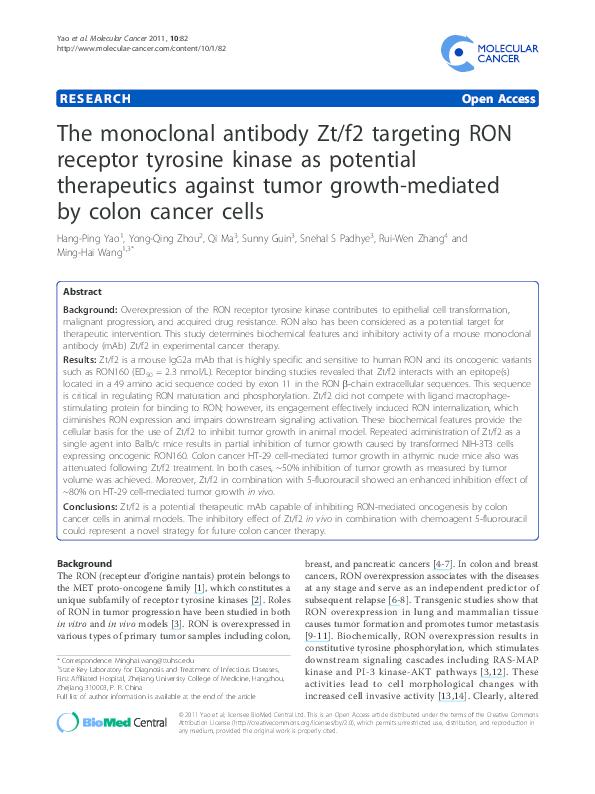 (PDF) The monoclonal antibody Zt/f2 targeting RON receptor