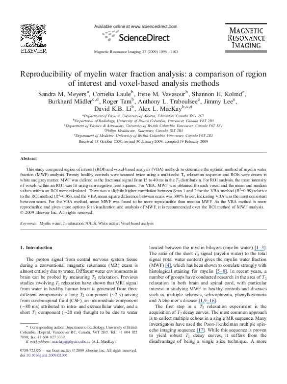 PDF) Reproducibility of myelin water fraction analysis: a