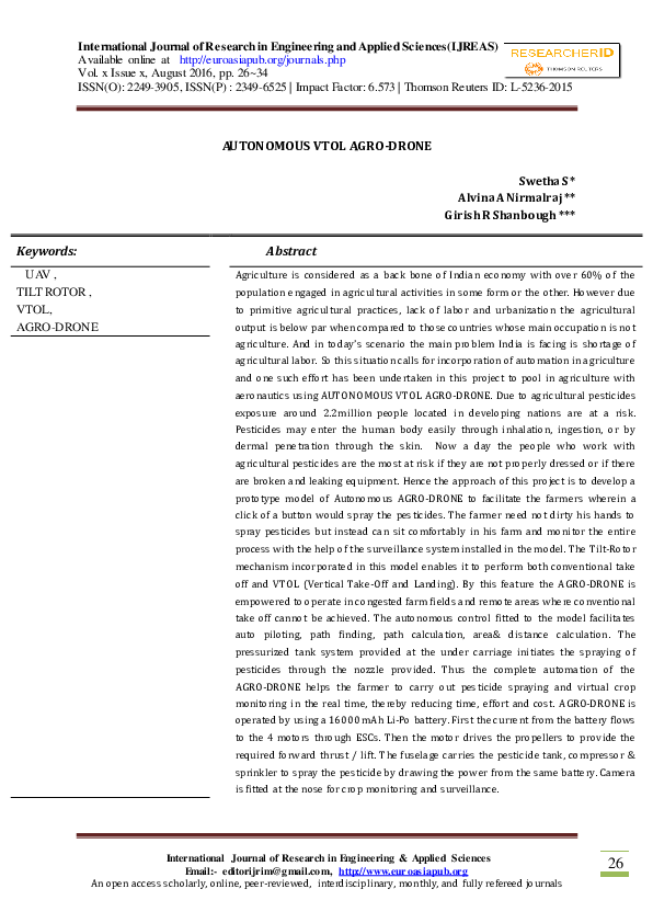 PDF) AUTONOMOUS VTOL AGRO-DRONE | Euro Asia International Journal