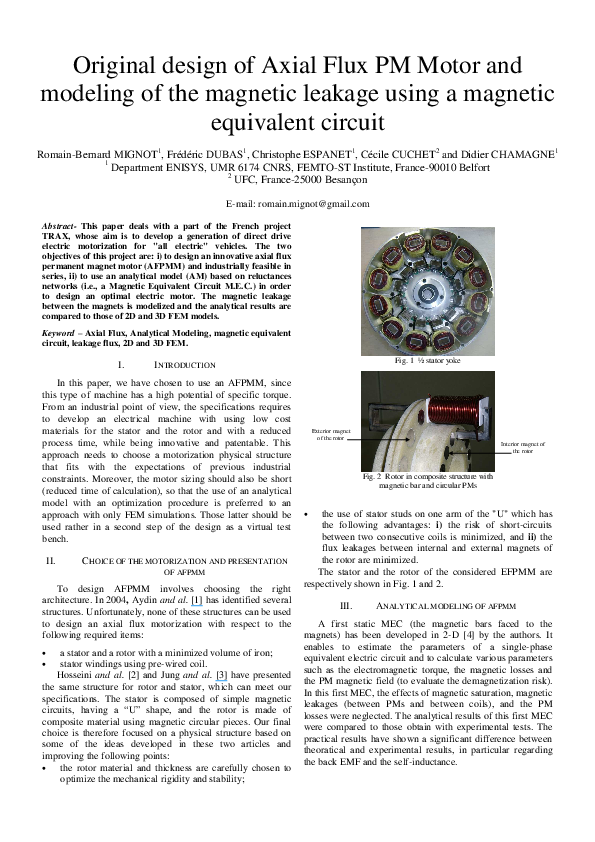 PDF) Original design of axial flux PM motor and modeling of