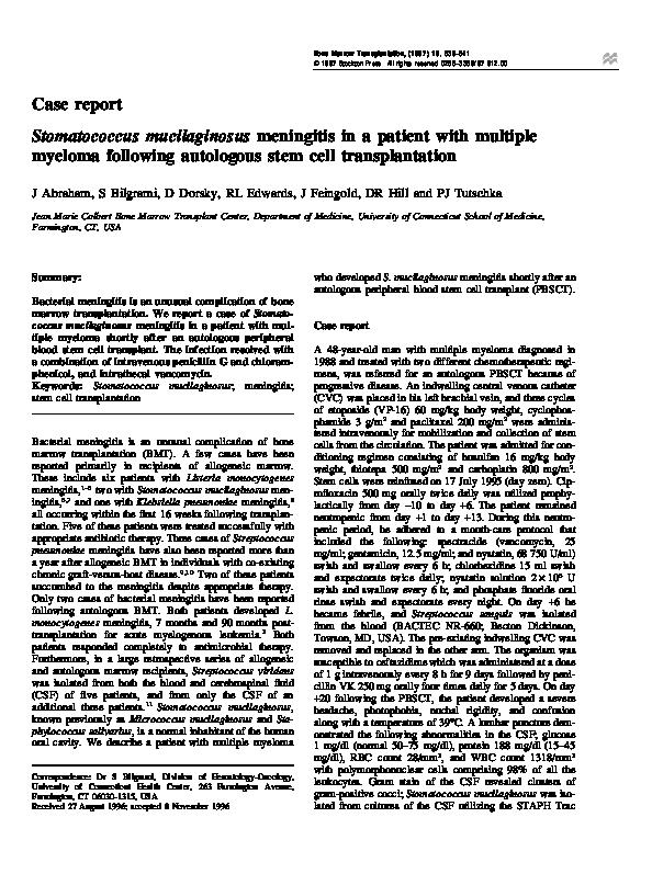 PDF) Stomatococcus mucilaginosus meningitis in a patient