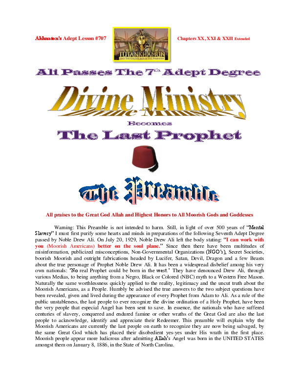 PDF) Akhnaton's Adept Lesson #707 | Michael Moore-Bey