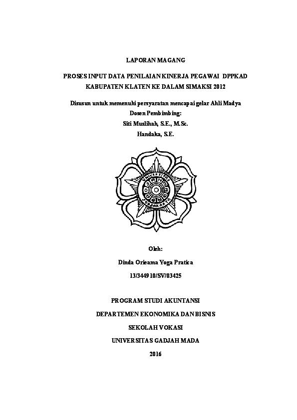 Proses Input Data Penilaian Kinerja Pegawai Dppkad Kabupaten Klaten Ke Dalam Simaksi 2012 Dinda Orieama Academia Edu