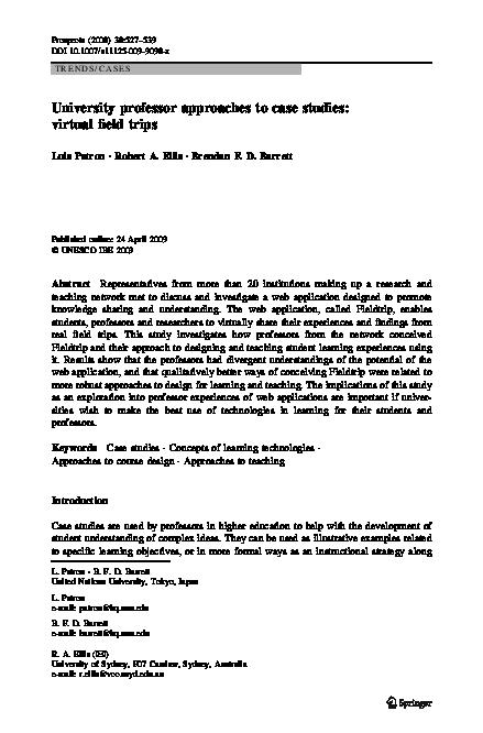 PDF) University professor approaches to case studies