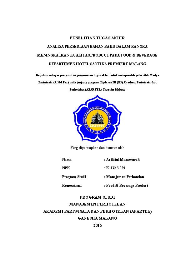 Contoh Judul Tugas Akhir Perhotelan Front Office Temukan Contoh