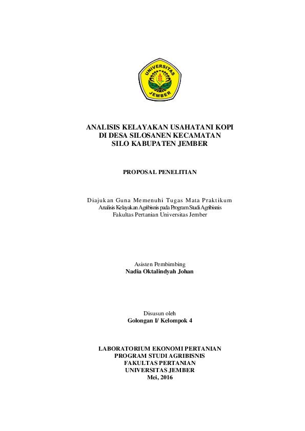 Pdf Analisis Kelayakan Usahatani Kopi Di Desa Silosanen Kecamatan Silo Kabupaten Jember Ani Domiah Academia Edu