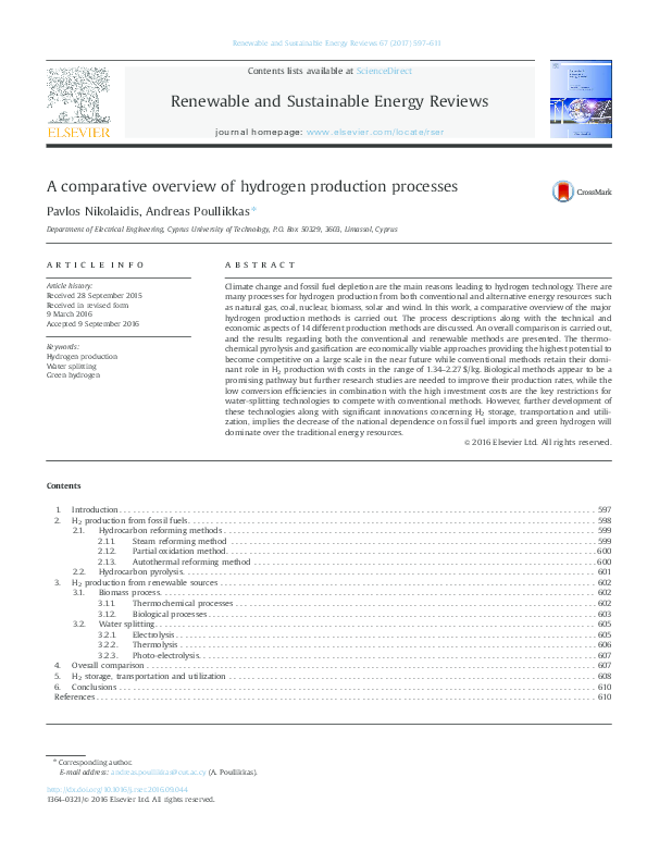 PDF) A comparative overview of hydrogen production processes