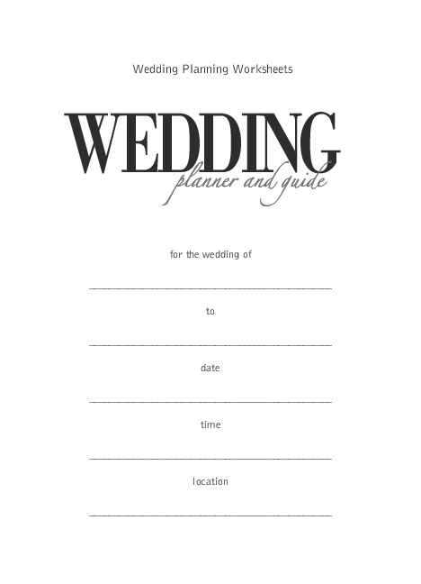 PDF) Wedding Planning Worksheets WEDDING planner and guide