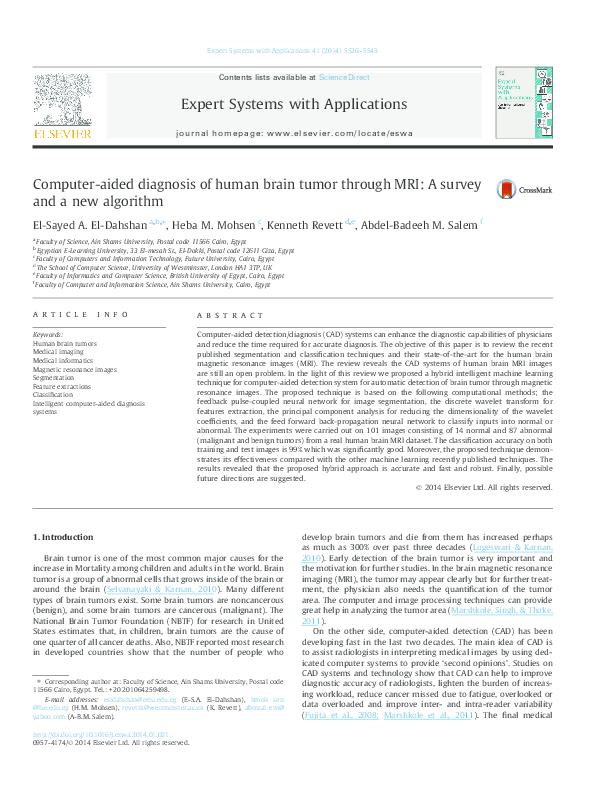 PDF) Computer-aided diagnosis of human brain tumor through MRI: A
